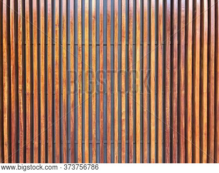 Brown Teak Wood Texture Background, Abstract Seamless Pattern Of Modern Wall Design Paneling With Ve