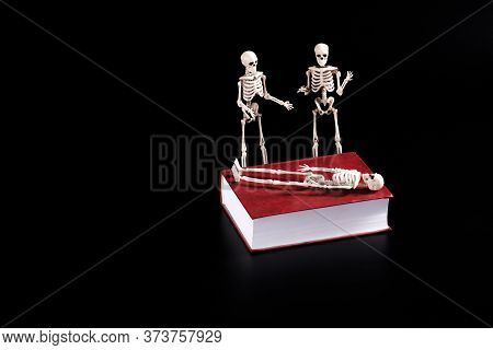 On The Book Lies A Skeleton Next To Two Skeletons Are Standing And Discussing Something. The Dead Bu