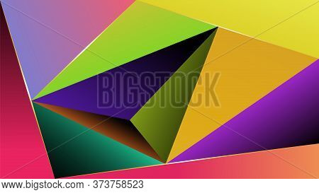 Background From Triangles With Multicolor Gradient Fill. The Background Is Made In Multicolor Gradie