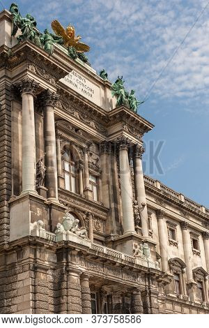 Imperial Hofburg Palace Portal With Columns And Sculptures In Vienna, Austria