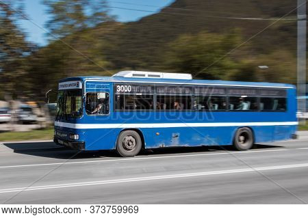 Petropavlovsk, Russia - September 15, 2019: A Blue Public Transport Bus Running In Petropavlovsk-kam