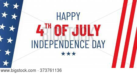 4th July. Usa Independence Day. Vector Banner With American Flag. Patriotic Illustration