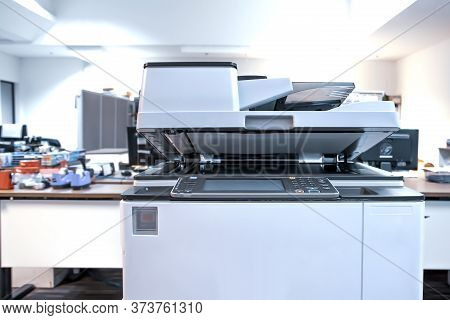 The Photocopier Or Printer Is Office Work Tool Equipment For Scanning Document And Copy Paper.