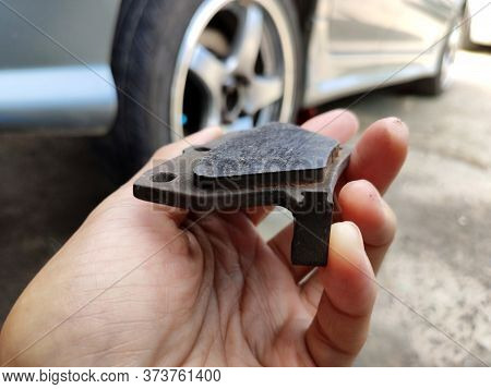 Close Up To Brake Pad In Brake Of The Car