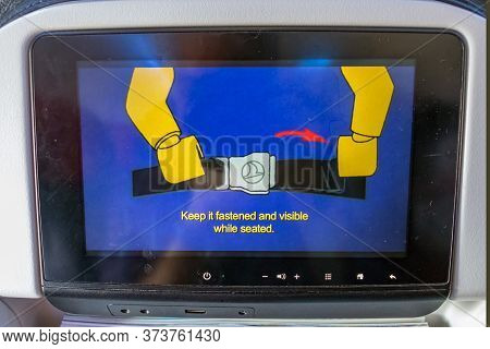 Istambul, Turkey - July 27, 2019: View Of The In-flight Entertainment Screen With The Cartoon Animat
