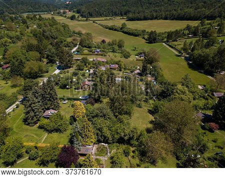 Aerial View Of Allotment Gardens On The Outskirt Of Stuttgart In Southern Germany.