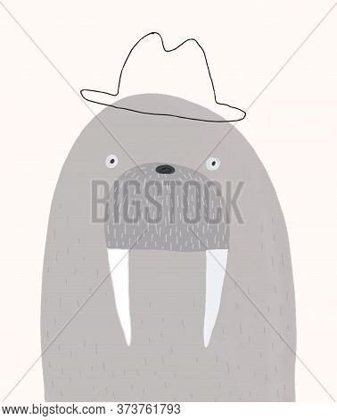 Portrait Of Mr. Walrus In A Bowler Hat. Funny Hand Drawn Vector Illustration With Gray Arctic Walrus