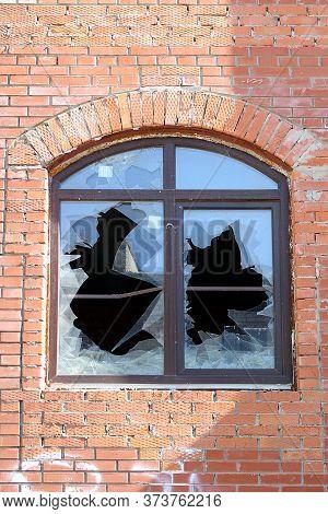 Broken New Plastic Window With Vandals, Broken Glass