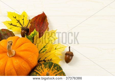 Close Up Of Pumpkin, Autumn Leaves And Acorns