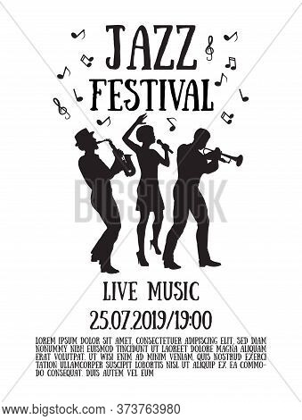 Jazz  Festival Poster. Silhouettes  Of Trumpet Player, Saxophonist And African Woman Singer. 50's Or