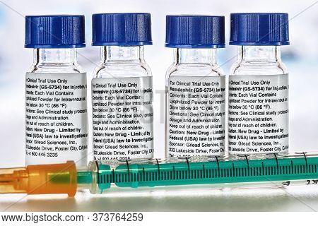 Liptovsky Hradok, Slovakia - April 20, 2020: Remdesivir Instructions Label On  Medical Bottles, Inje