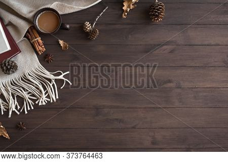 Cozy Composition With Soft Plaid And Cup Of Coffee. Seasonal Autumn Or Winter Coziness With Warm Bla