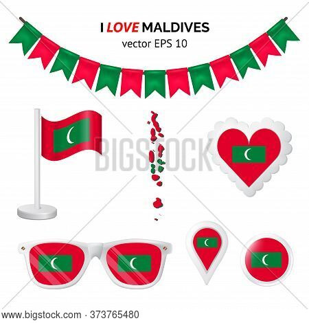 Maldives Symbols Attribute. Heart, Flags, Glasses, Buttons, And Garlands With Civil And State Maldiv