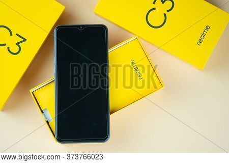Samut Prakan, Thailand - June 28, 2020 : The Realme C3 Entry-level Android Smartphone Has A 6.5-inch