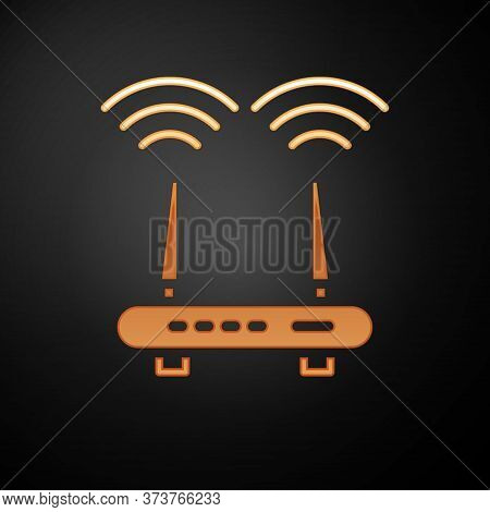 Gold Router And Wi-fi Signal Icon Isolated On Black Background. Wireless Ethernet Modem Router. Comp