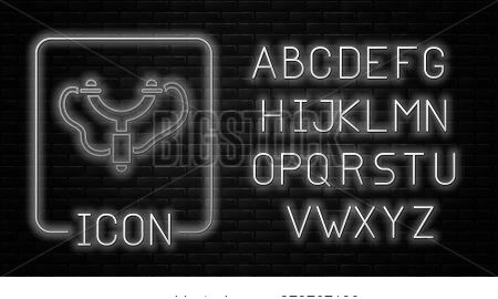 Glowing Neon Slingshot Icon Isolated On Brick Wall Background. Neon Light Alphabet. Vector