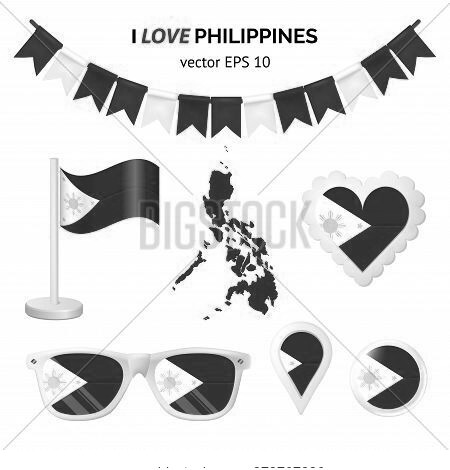 Philippines Symbols Attribute. Heart, Flags, Glasses, Buttons, And Garlands With Civil And State Phi