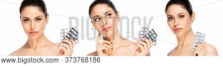 Healthcare And Medical Concept-set Of Closeup Brunette Woman With Pills, Isolated.