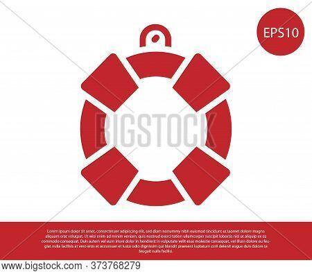 Red Lifebuoy Icon Isolated On White Background. Lifebelt Symbol. Vector