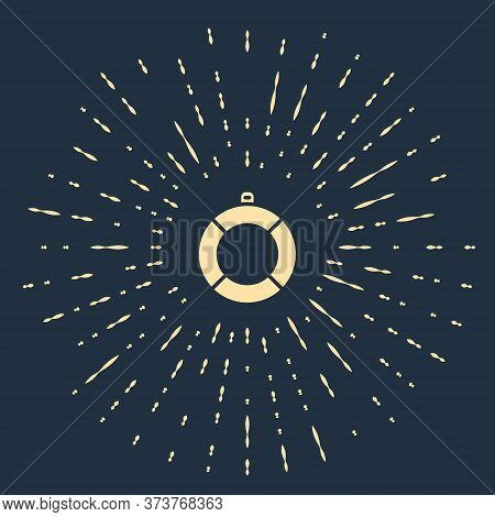 Beige Lifebuoy Icon Isolated On Blue Background. Lifebelt Symbol. Abstract Circle Random Dots. Vecto