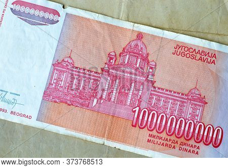 Reverse Of 1 Billion Dinars Paper Bill Issued By Yugoslavia, That Shows National Assembly Of Republi