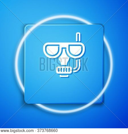 White Diving Mask And Snorkel Icon Isolated On Blue Background. Extreme Sport. Diving Underwater Equ