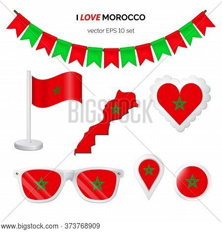 Morocco Symbols Attribute. Heart, Flags, Glasses, Buttons, And Garlands With Civil And State Morocco
