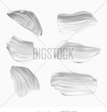Set Of White Creamy Textured Paint Swirls And Smears Isolated On White Background. Vector Illustrati