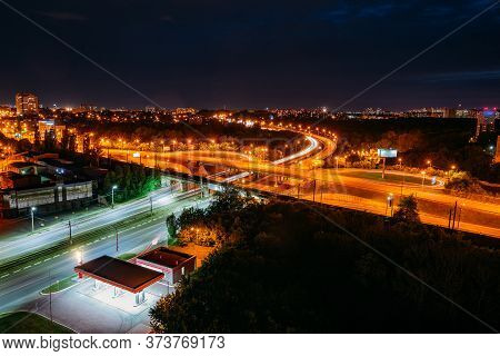 Night Voronezh Cityscape. Transport Junction, Aerial View