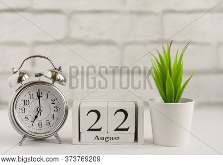 August 22 According To The Wooden Calendar. Summer Day, Empty Space For Text.calendar For August On