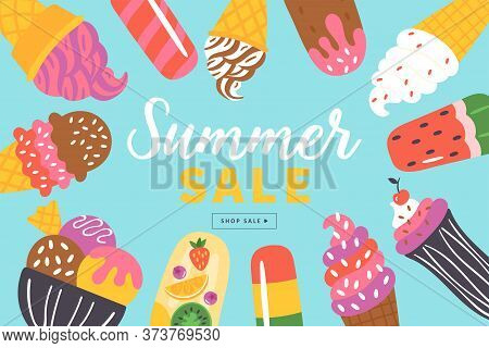 Summer Sale Banner Design With Ice Cream And Popsicle. Template For Social Media Banner, Poster Or N