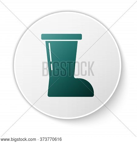 Green Waterproof Rubber Boot Icon Isolated On White Background. Gumboots For Rainy Weather, Fishing,
