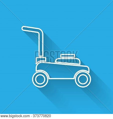 White Line Lawn Mower Icon Isolated With Long Shadow. Lawn Mower Cutting Grass. Vector