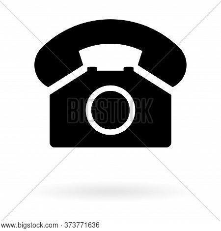 Old Phone With Shadow Flat Icon Isolated On White Background. Hotline Symbol. Telephone Vector Illus