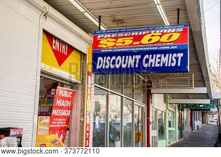 Sydney, Australia 2020-06-28 Chemist Warehouse Sign Above The Entrance To The Drug Store In Caringba