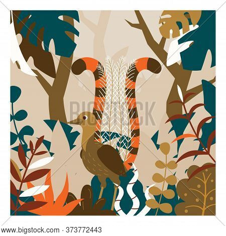 Colorful Australian Lyrebird Surrounded By Trees And Leaves Illustration. Stock Vector. Cartoon Lyre