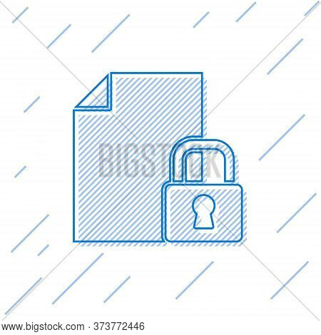 Blue Line Document And Lock Icon Isolated On White Background. File Format And Padlock. Security, Sa