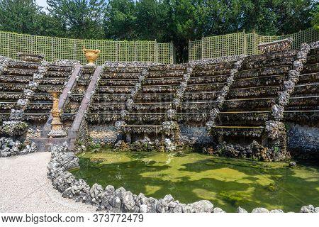 Versailles, France - August 27, 2019 :  View Of The Salle De Bal Or Bosquet Des Rocailles In The Gar