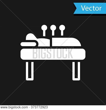 White Acupuncture Therapy Icon Isolated On Black Background. Chinese Medicine. Holistic Pain Managem