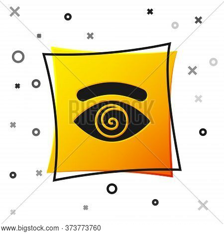 Black Hypnosis Icon Isolated On White Background. Human Eye With Spiral Hypnotic Iris. Yellow Square