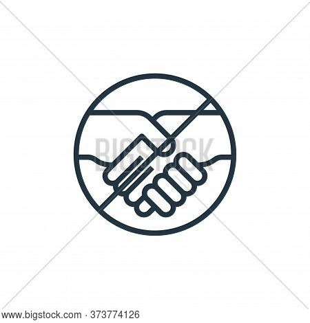 no handshake icon isolated on white background from coronavirus collection. no handshake icon trendy