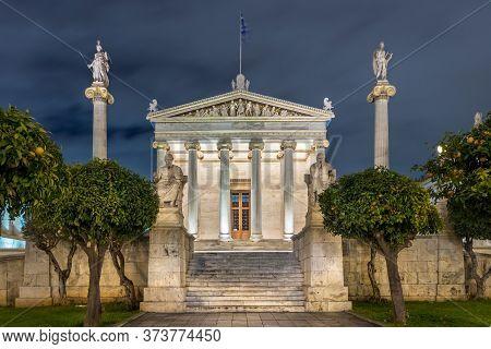 Facade Of The National Academy Of Athens - Akadimia Athinon At Night, Athens, Greece.