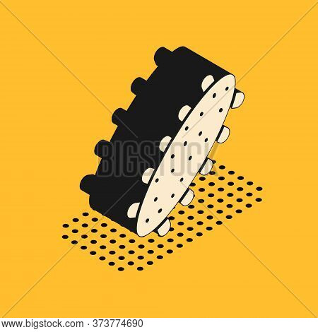 Isometric Sea Cucumber Icon Isolated On Yellow Background. Marine Food. Vector.