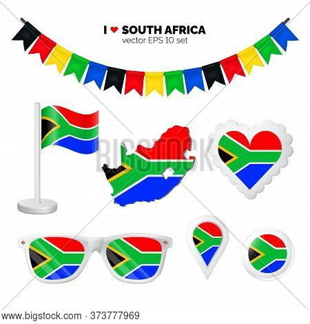 South Africa Symbols Attribute. Heart, Flags, Glasses, Buttons, And Garlands With Civil And State So