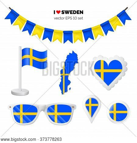 Sweden Symbols Attribute. Heart, Flags, Glasses, Buttons, And Garlands With Civil And State Sweden C