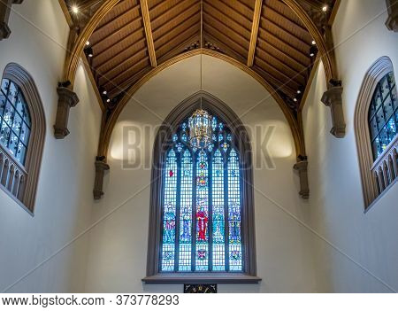 Belfast, Northern Ireland, Uk - July 31, 2019 A Vitraux Inside The Queens University Of Belfast, Nor