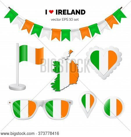 Ireland Symbols Attribute. Heart, Flags, Glasses, Buttons, And Garlands With Civil And State Ireland