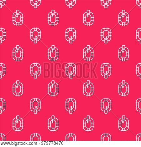 White Line Inflatable Boat Icon Isolated Seamless Pattern On Red Background. Rafting Boat. Water Spo