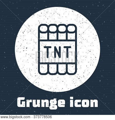 Grunge Line Detonate Dynamite Bomb Stick And Timer Clock Icon Isolated On Grey Background. Time Bomb