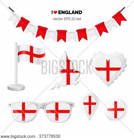 England Symbols Attribute. Heart, Flags, Glasses, Buttons, And Garlands With Civil And State England